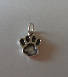 Small 15x12mm Dog Bear Panther Lion Cat Tiger...Paw Print Sterling Silver Charm