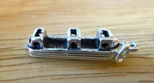 Sterling Silver 3D 26x7mm ~4 gram Canal Ship River Barge Boat Charm