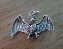 Sterling Silver Halloween 3D 15x22mm Vampire Fruit Bat Charm!