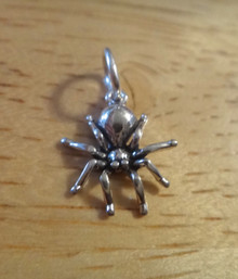 Sterling Silver TINY 12x11mm Halloween 3D Spider Black Widow Tarantula Charm!