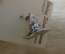 Sterling Silver 3D 14x15mm Witch Hat says Salem MA Massachusetts on it Charm!