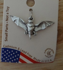 Sterling Silver 3D 12x27mm Halloween Vampire Bat Charm!