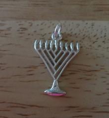 Flat 20x14mm Menorah Jewish Hanukkah Sterling Silver Charm