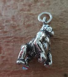 3D 4 gram 19x10mm solid Gorilla Baboon Monkey Sterling Silver Charm