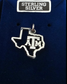 15x17mm Texas A&M University ATM Cut out Texas shape Aggie Sterling Silver Charm