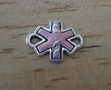 Sterling Silver Pink enamel Diabetic Diabetes Medical ID 14 mm long Link Charm