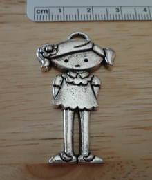 Pewter Silver 40x24mm Girl Daughter Granddaughter Friend Cousin Child Charm