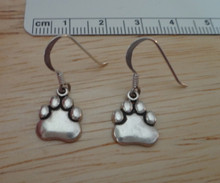 Sterling Silver 10x10mm Panther Tiger Bear Dog Paw Charms on 15mm Earring wires