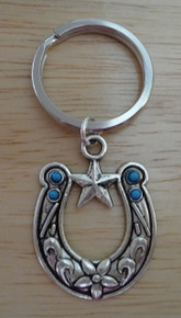 1 Pewter Silver 35x27mm Horseshoe w/ blue beads & Star on 27mm Keychain Keyring