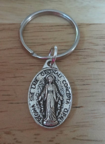 """Pewter Silver 25x15mm Miraculous Mary medal on a 1"""" Keychain Keyring"""