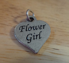 Pewter Silver 18x16mm Wedding Says Flower Girl on Heart both sides Charm