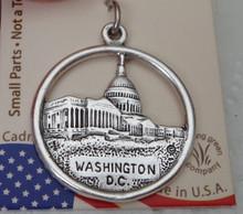Sterling Silver 22mm says Washington DC with Capital & Washington Monument Charm