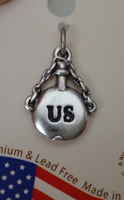 Sterling Silver 3D 17x12mm Civil War Union Soldier Canteen says US Charm