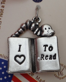 Sterling Silver 3D 21x18mm says I Love to Read with Heart on Book Bookworm Charm