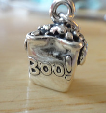 Sterling Silver 17x12x7mm Halloween Bag says Trick or Treat & Boo Charm! Cute!!