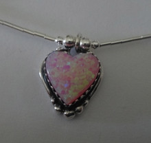 """16"""" Sterling Silver Pink Lab Opal Heart Charm on Liquid Silver and Bead Chain"""