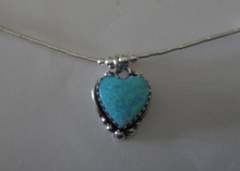"""16"""" Sterling Silver Blue Lab Opal Heart Charm on Liquid Silver and Bead Chain"""