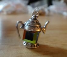 Sterling Silver 24mm Coffee Tea Teapot Blue Green aurora borealis crystal Charm