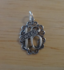 Sterling Silver 20x15mm Cut out Sweet 16/16th Birthday Charm! shb