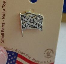 Sterling Silver 11x12mm Historical Confederate Rebel Flag Tie Tack Lapel Pin