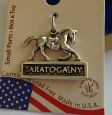 Sterling Silver 3D 15x20mm New York Racing Race Horse says Saratoga NY Charm
