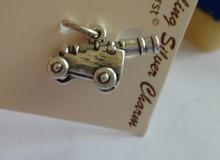 Sterling Silver 3D Detailed 10x17mm Cannon Gun on Wood Frame Charm!