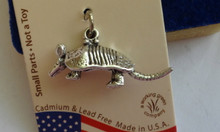 Sterling Silver 3D 10x25x8mm Armadillo Charm! hollow bottom