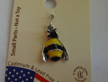 Sterling Silver Small 15x9mm Yellow Black Enamel Bumble Bee Insect Charm