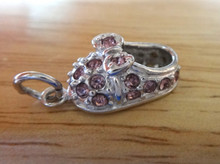 Sterling Silver 20x10mm Girl Baby Shoe Bootie with Purple Crystals Charm