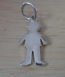 Sterling Silver 23x13mm Engraveable Boy Body Silhouette Charm!