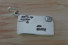 Sterling Silver 35x12mm Envelope Love Letter says 925 has Stamp 2 Hearts Charm