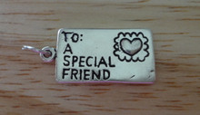 12x24mm Sterling Silver Envelope Love Letter says To A Special Friend Heart Lips Charm