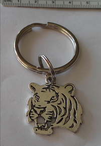 PEWTER silver 27x24mm Tiger Face Mascot Charm on a 27 mm Keyring Keychain