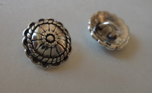 1 Sterling Silver 14mm Decorated Round Shaped Scalloped Edge Real Button