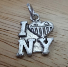 Sterling Silver 18mm says I love (heart flag decoration) NY New York City Charm