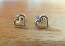 Sterling Silver & 14K gold TINY 8x8mm Puffy Heart with edge Stud Earrings
