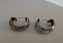 Sterling Silver 13mm Diameter 5mm thick Decorative Design Hoop Earrings