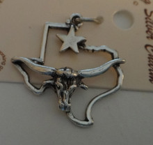 Sterling Silver 24x23mm has Longhorn on the shape of Texas with Lone Star Charm