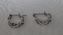 Sterling Silver 12mm Diameter 5mm thick Braided Design Hoop Earrings