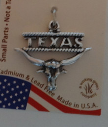 Sterling Silver 20x22mm Says Texas above a Texas Longhorn Charm
