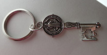 Pewter Silver 52x18mm St Benedict Medal Key w/ Maltese cross on 27mm Keyring