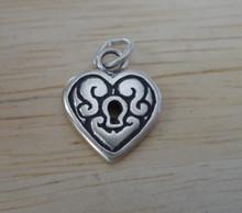 Sterling Silver 14x11mm Small Fancy Lock Heart Charm plain back