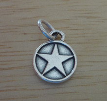 Sterling Silver 10mm US United States Army Star Seal Medal Military Charm