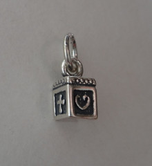 Sterling Silver TINY 10x5mm Prayer Box with Heart Fish & Cross Charm NOT movable