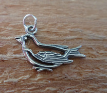 Sterling Silver 12x19mm outline Dove or Song Bird Animal Charm