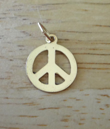 Small 11mm 14K Gold filled Flat Peace Sign Charm