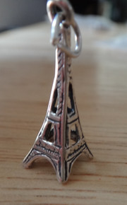Sterling Silver 3D 24x8mm Eiffel Tower in Paris France Travel Charm