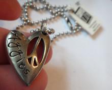 "18"" Silver Pewter Bead chain Texas A&M University Aggies ATM 28x21mm heart Charm"