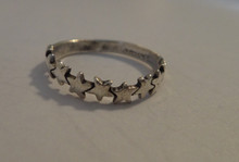 Sterling Silver 3-4 mm wide thin band with Stars Ring size 6 7 8 or 9