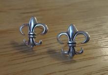 Sterling Silver Small 13x13mm Fleur de Lis Stud Earrings